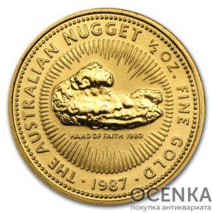 Золотая монета 50 долларов 1987 год. Австралия. Самородки