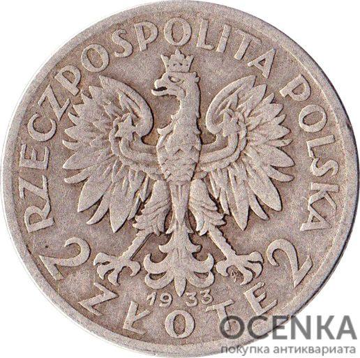 Серебряная монета 2 Злотых (2 Złote) Польша - 3