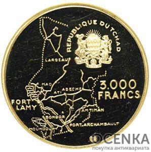 Золотая монета 3000 Франков (3000 Francs) Чад