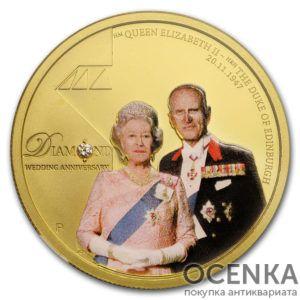 Золотая монета 100 долларов 2007 год. Австралия. Бриллиантовая годовщина свадьбы