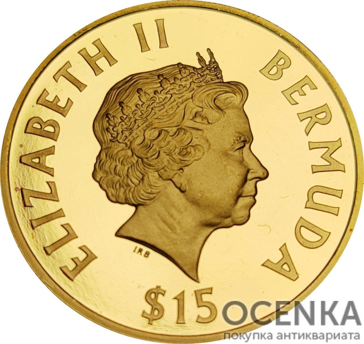 Золотая монета 15 долларов Бермудских островов