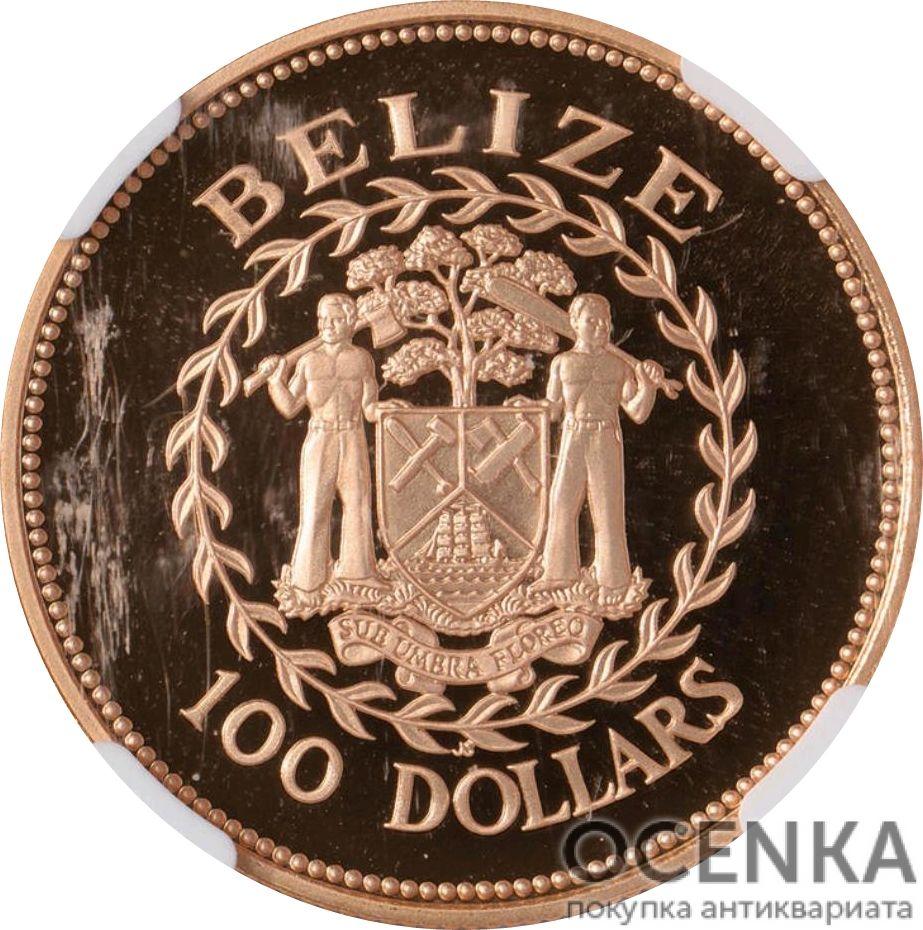 Золотая монета 100 долларов Белиза - 4