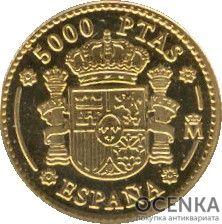 Золотая монета 5000 Песет (5000 Pesetas) Испания - 4