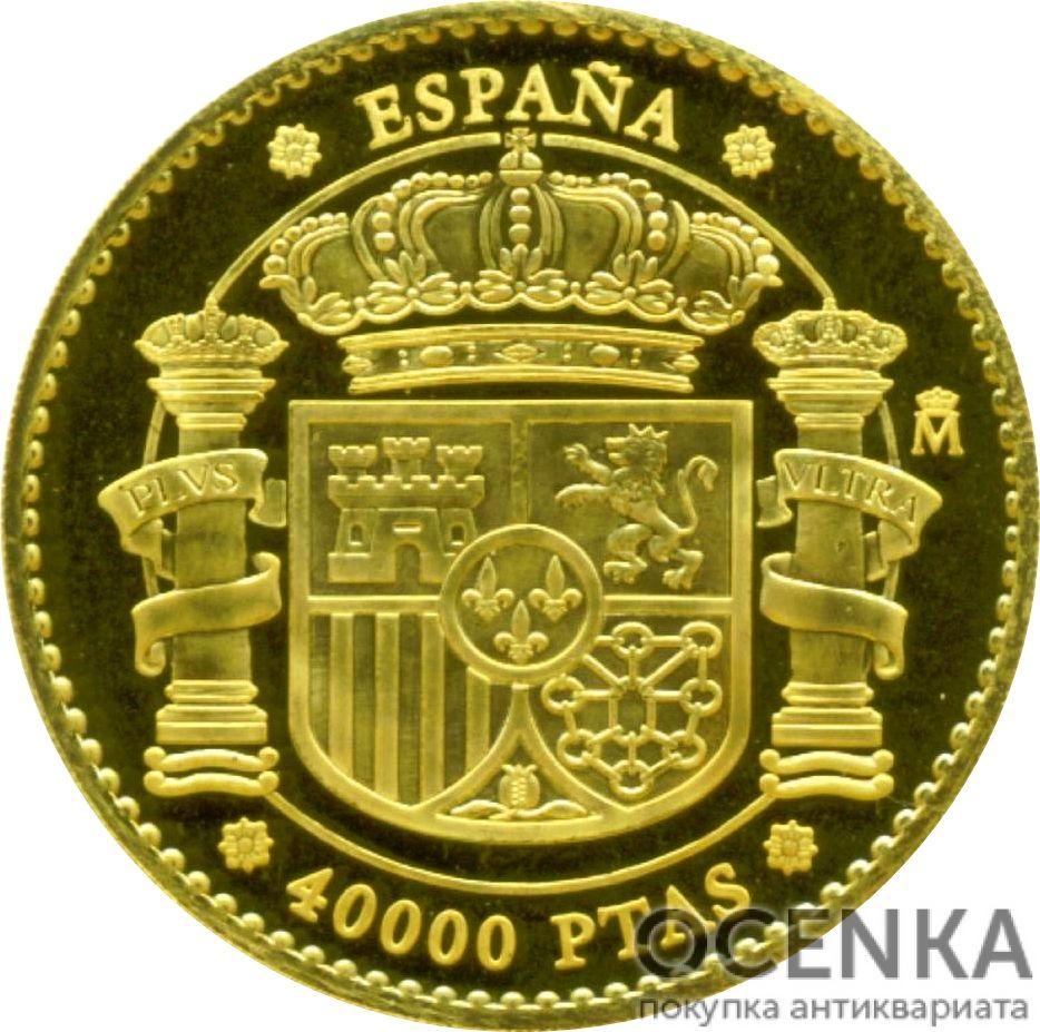 Золотая монета 40 000 Песет (40 000 Pesetas) Испания - 4
