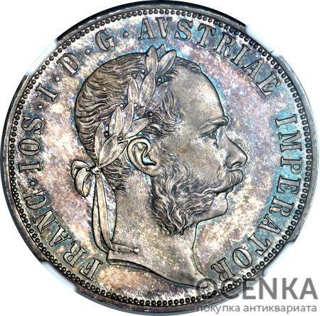 Серебряная монета 2 Гульдена (2 Guldens) Австро-Венгрия - 1