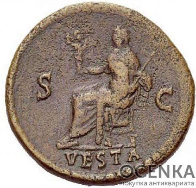 Медная монета Дупондий древнего Рима - 1