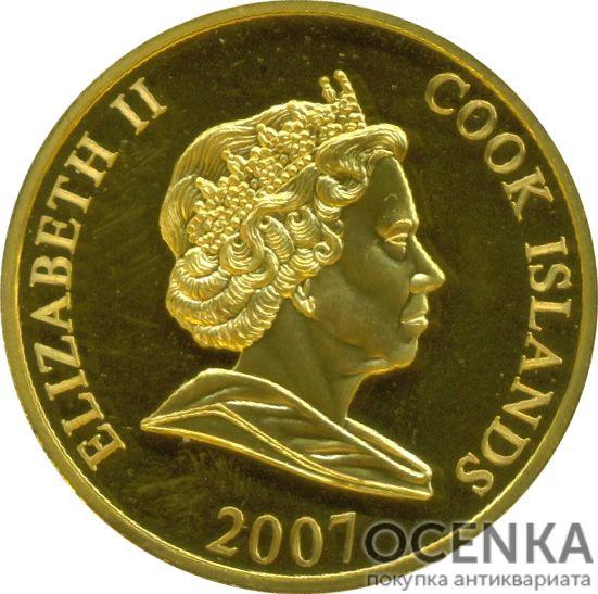 Золотая монета 1 Доллар Островов Кука - 5