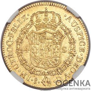 Золотая монета 4 Эскудо (4 Escudos) Чили