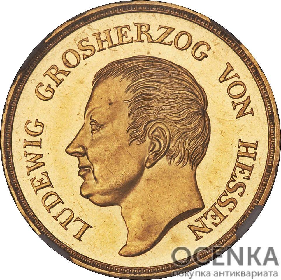 Золотая монета 10 Гульденов Германия - 3