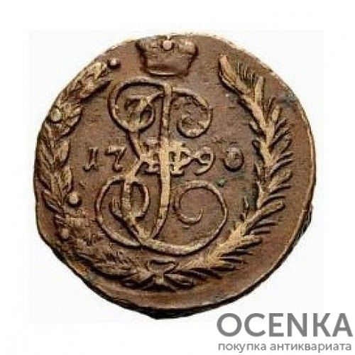 Медная монета 1 копейка Екатерины 2 - 5