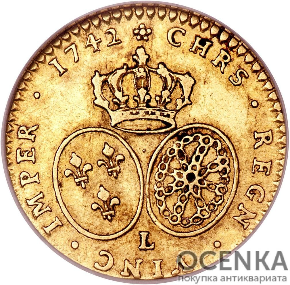 Золотая монета ½ Дьёра (½ d'Or) Франция