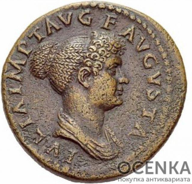 Медная монета Дупондий древнего Рима