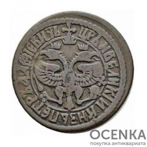 Медная монета Денга (1/2 копейки) Петра 1 - 5