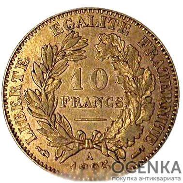 Золотая монета 10 Франков (10 Francs) Франция - 4
