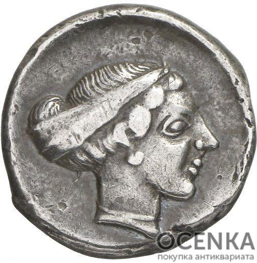 Серебряная монета Дидрахма Древней Греции - 9