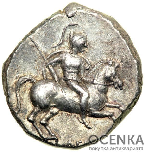 Серебряная монета Дидрахма Древней Греции - 5