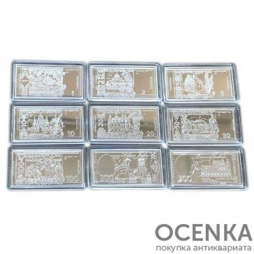 Набор серебряных мини-банкнот от 1 до 500 гривен 2008 года, Украина - 1
