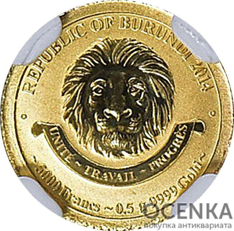 Золотая монета 5000 Франков (5000 Francs) Бурунди