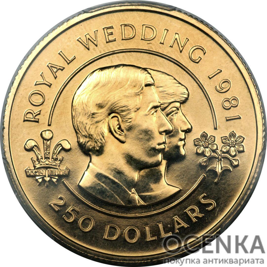 Золотая монета 250 долларов Бермудских островов