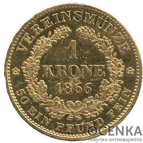 Золотая монета 1 крона Австро-Венгрии - 2