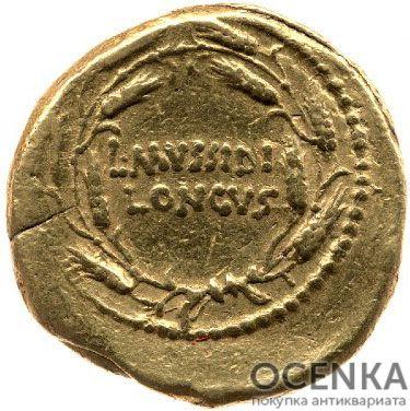 Золотой ауреус, Луций Муссидий Лонг, 42 год до н.э. - 1