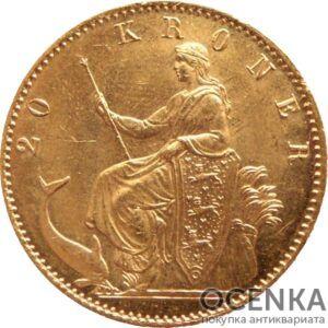 Золотая монета 20 Крон (20 Kroner) Дания