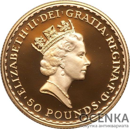 Золотая монета 50 Pounds (50 фунтов) Великобритания - 1