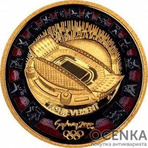 Золотая монета 100 долларов 2000 год. Австралия. Олимпийский стадион