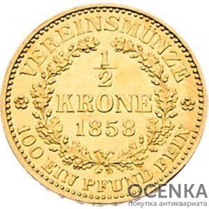 Золотая монета 1/2 кроны Австро-Венгрии