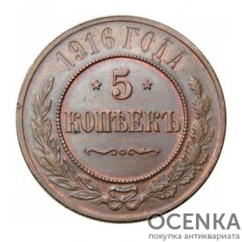 Медная монета 5 копеек Николая 2 - 3