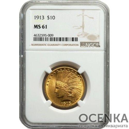 Золотая монета 10 Долларов США в слабе - 2
