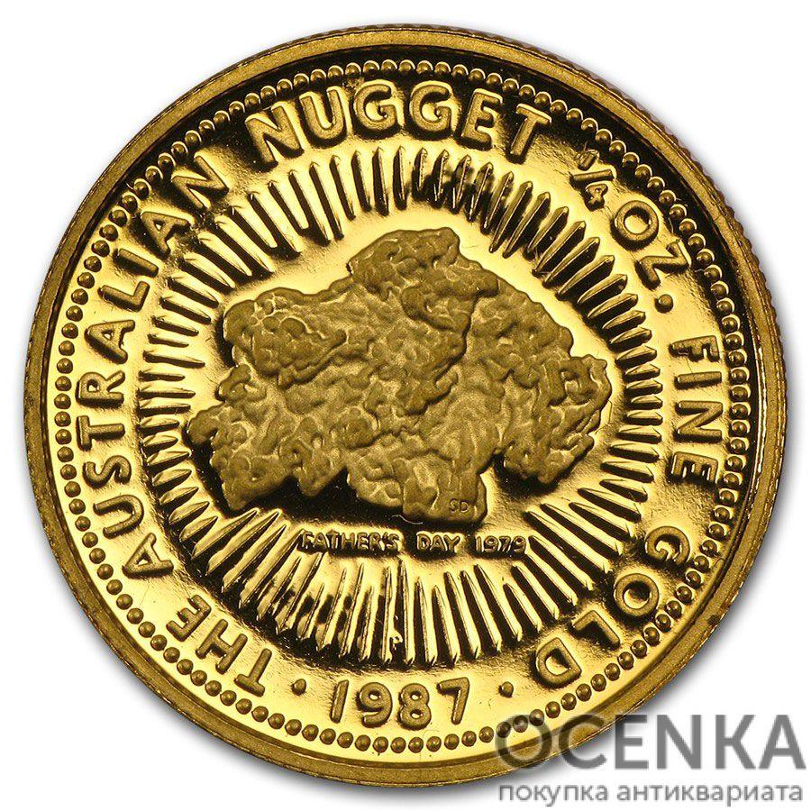 Золотая монета 25 долларов 1987 год. Австралия. Самородки