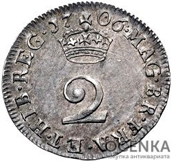 Серебряная монета 2 Пенса (2 Pence) Великобритания