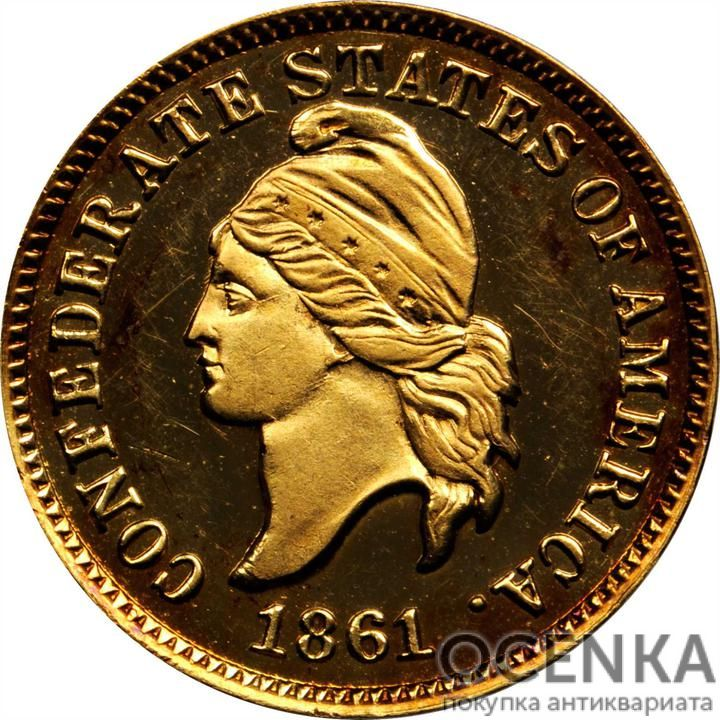 Золотая монета 1 Cent (1 цент) США - 1