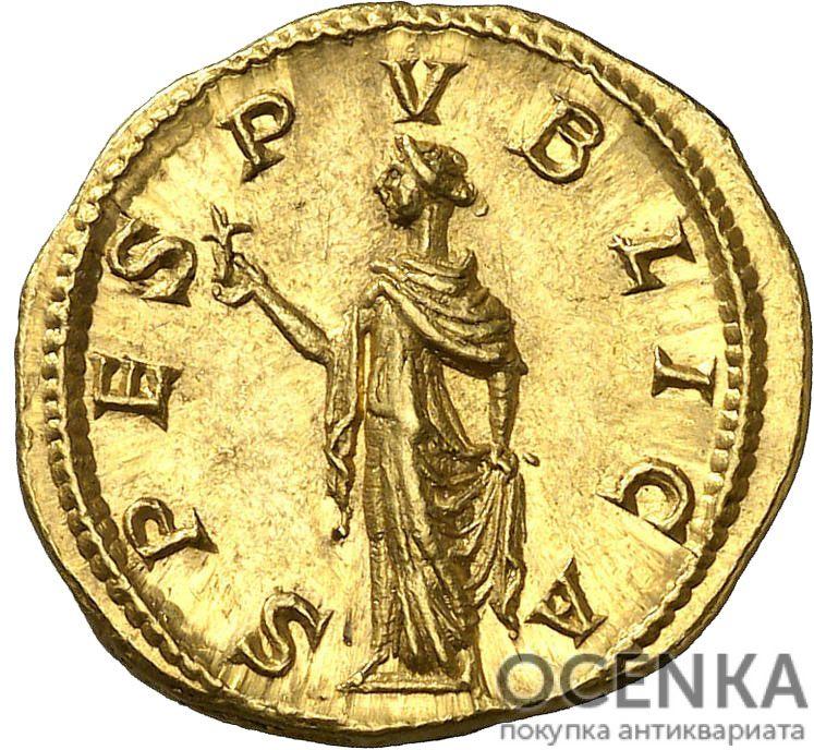 Золотой ауреус, Марк Опеллий Антонин Диадумениан, 218 год - 1