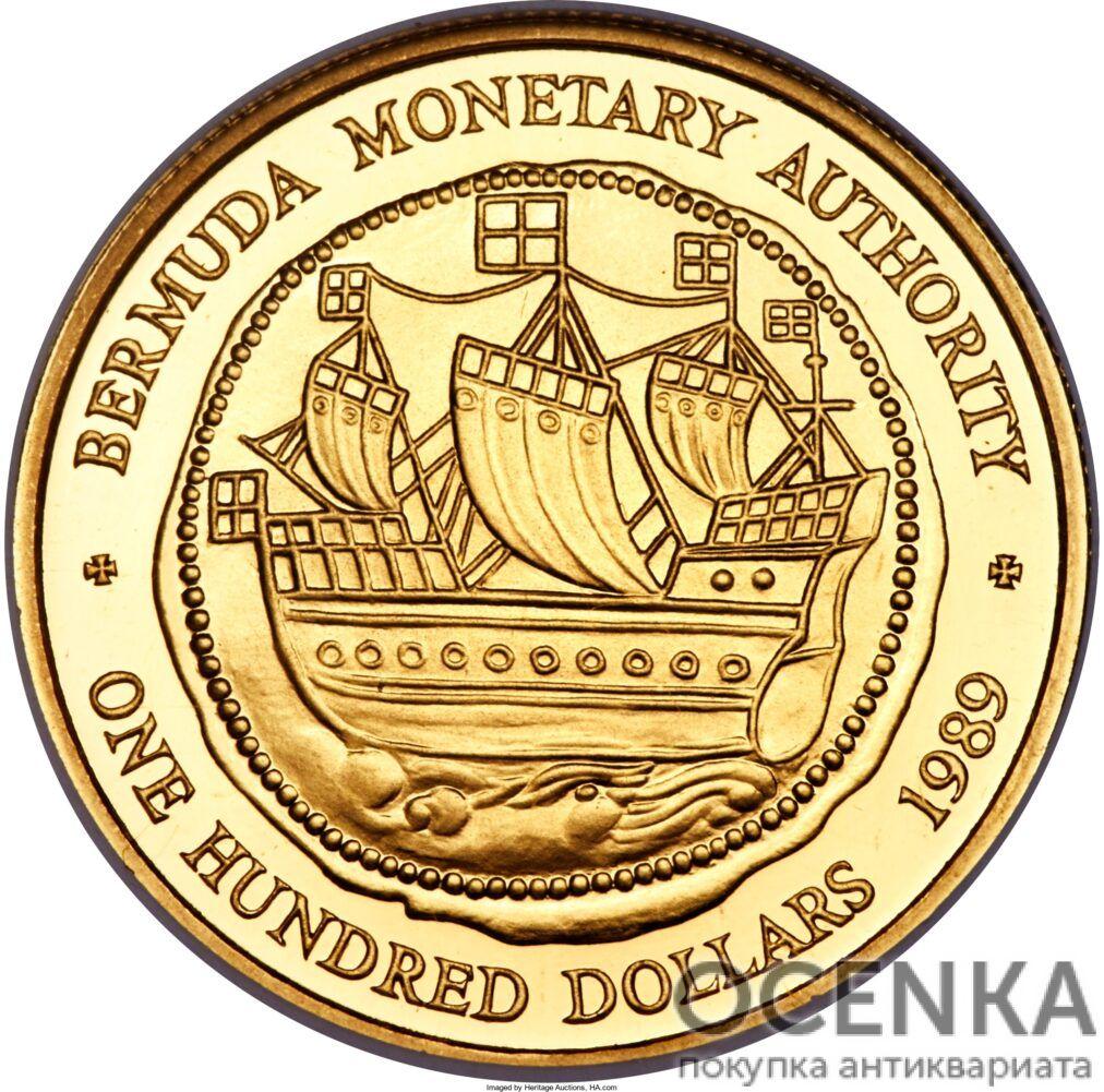 Золотая монета 100 долларов Бермудских островов
