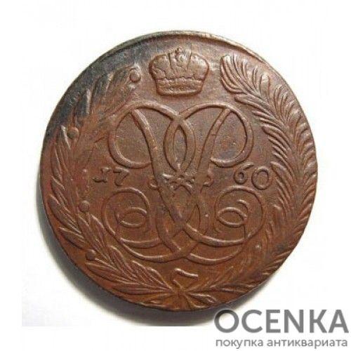 Медная монета 5 копеек Елизаветы Петровны - 5