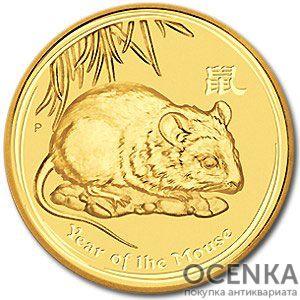 Золотая монета 25 долларов 2008 год. Австралия. Лунар. Год Крысы - 1