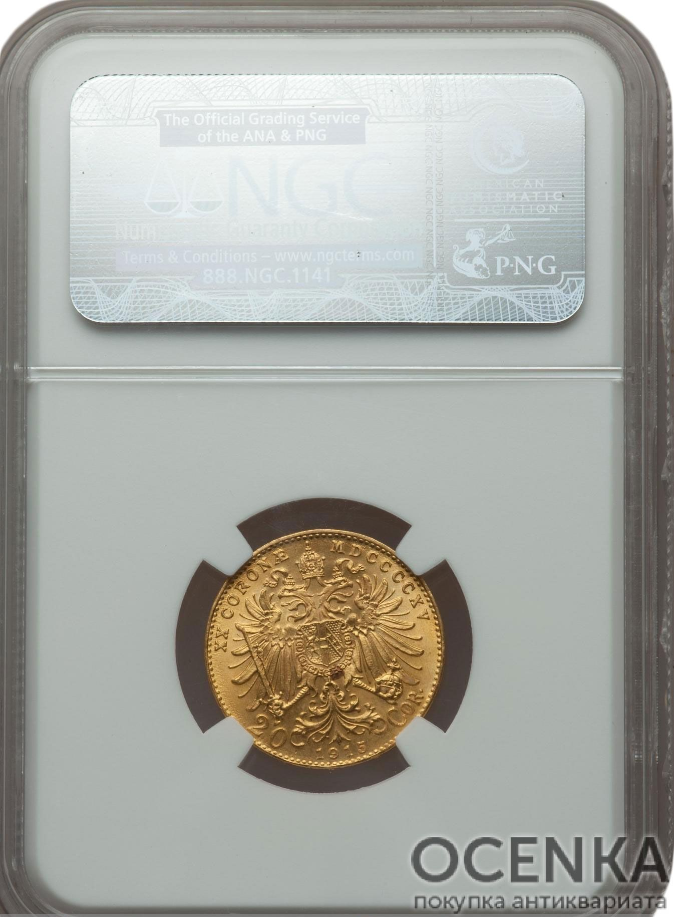 Золотая монета 20 Крон Австро-Венгрии в слабе - 1