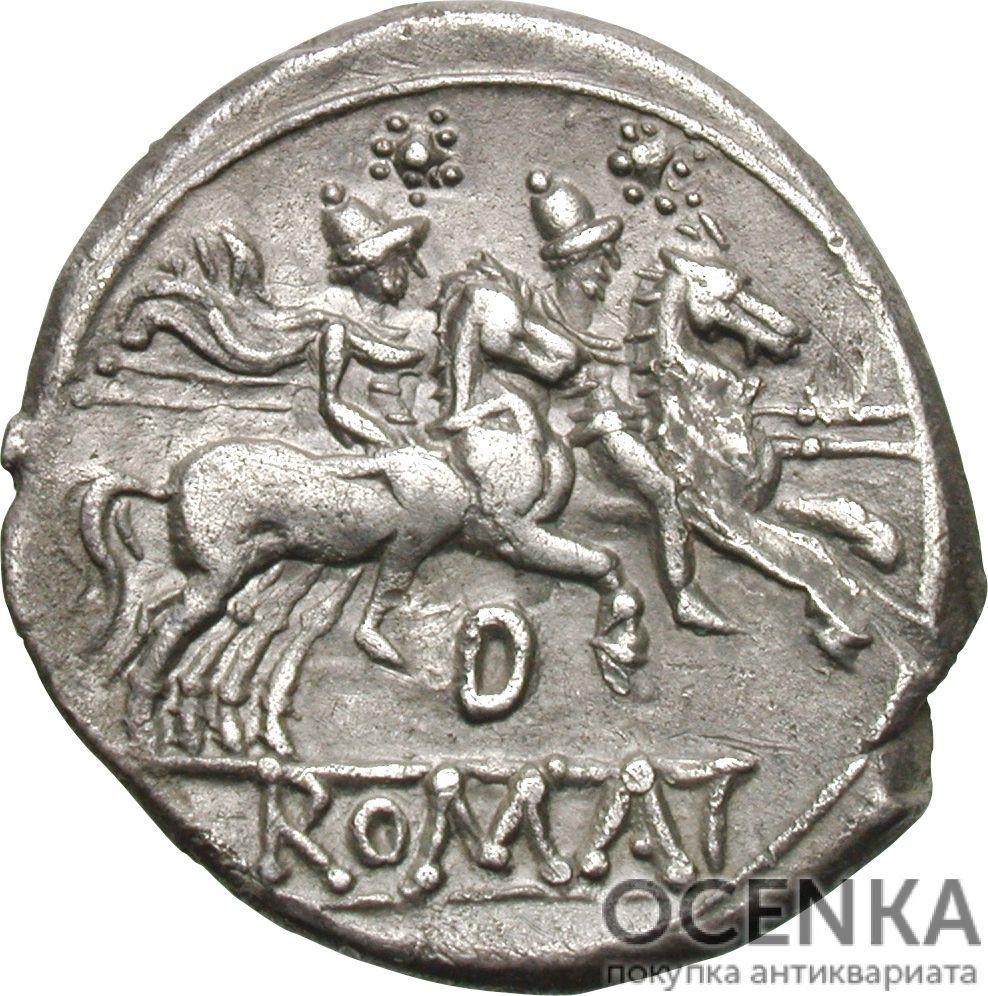 Серебряный Республиканский Денарий Анонимного выпуска, 199-170 год до н.э. - 1