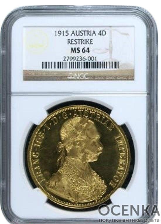 Золотая монета 4 Дуката Австро-Венгрии в слабе