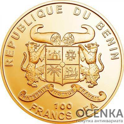 Золотая монета 100 Франков Бенина