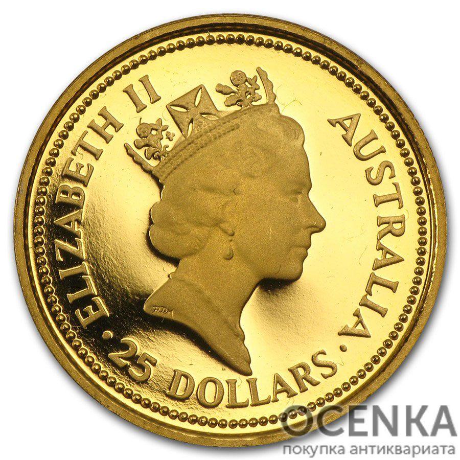 Золотая монета 25 долларов 1987 год. Австралия. Самородки - 1