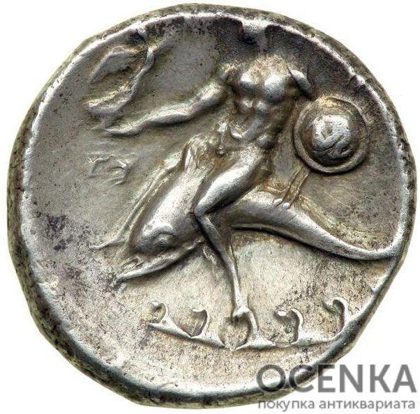 Серебряная монета Дидрахма Древней Греции - 7