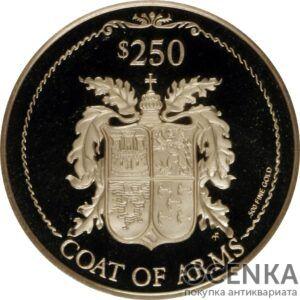 Золотая монета 250 долларов Виргинских островов