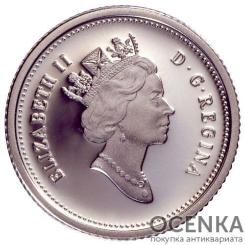 Серебряная монета 10 Центов Канады - 3