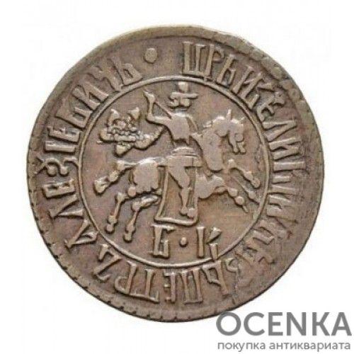 Медная монета 1 копейка Петра 1 - 7