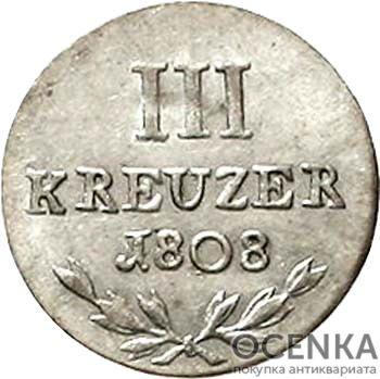 Серебряная монета 3 Крейцера (3 Kreuzer) Германия