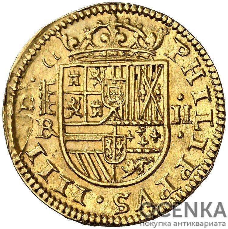 Золотая монета 2 Эскудо (2 Escudos) Испания - 3