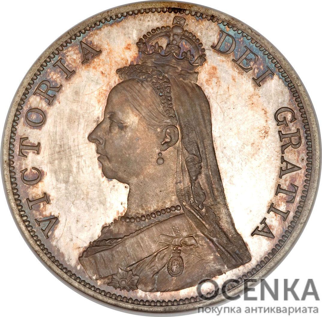 Серебряная монета 2 Флорина (2 Florins) Великобритания - 1